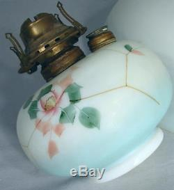 14 Antique Victorian Parlor Library Hanging Glass Shade & FONT Oil Lamp MINTY