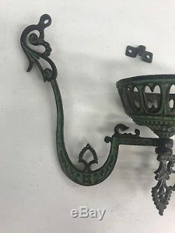 1879 Antique Victorian Cast Iron Oil Lamp Holder Bracket Wall Mount
