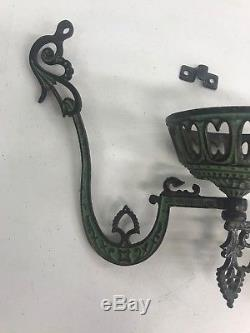 1879 Antique Victorian Cast Iron Oil Lamp Holder Bracket Wall Mount