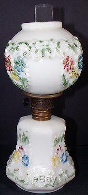 1890's Victorian Era HP Milk Glass Cosmos 9.5t Miniature Kerosene Oil Lamp