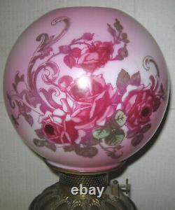1890s Pink Roses GWTW Consolidated Electrified Oil Lamp