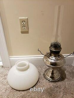 1905 RAYO Socony Victorian Nickel GWTW Kerosene Oil Table Lamp Milk Glass Shade