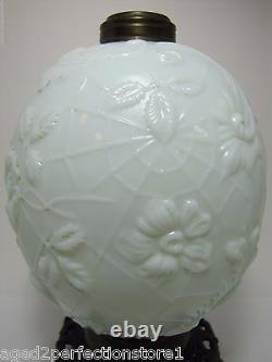19c Victorian Milk Glass Spider Web Flowers Oil Lamp FG Co Cast Iron Base Ornate