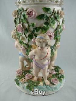 19th C Cherub & Floral Sitzendorf Oil Lamp Base, Hinks Cut Glass Drop In Font