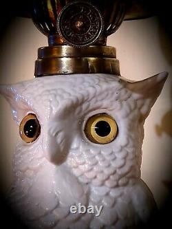 19th C. Conta Boehme Possneck Figural Owl Oil Lamp c. 1875