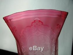 19th C Cranberry Etched Glass Tulip Shape Duplex Oil Lamp Shade 4 Fitter