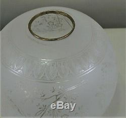 19th C. Victorian Art Nouveau French Baccarat Etched Glass Oil Lamp Shade