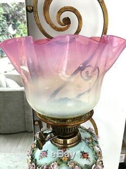 19th Century German Porcelain Oil Lamp Floral decoration Vaseline pink shade