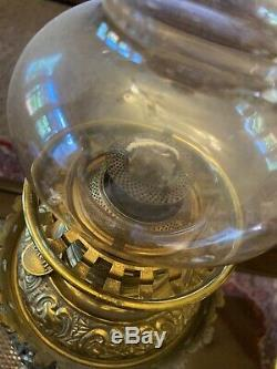 19th c. Bradley & Hubbard Banquet Brass Lamp Oil Kerosene B & H Antique
