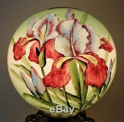 19th c. Orchid Banquet Lamp Oil / Kerosene Converted Antique Victorian