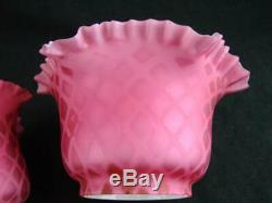 19thC RARE PAIR SMALL OIL LAMP / PEG SHADES PINK QUILTED MOTHER OF PEARL GLASS