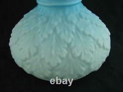19thC VESTA OIL LAMP SHADE BLUE SATIN GLASS 14cm FITTER + MATCHING PEG LAMP FONT