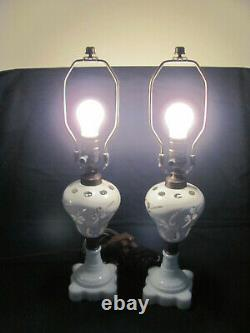 2 Antique Boston Sandwich Oil Lamps Converted To Electric White Cut To Clear