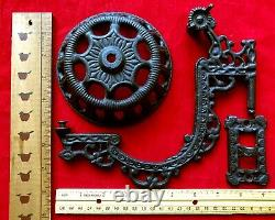 2 Antique Cast Iron Oil Lamp Swing Arm Wall Sconces Victorian Eastlake Style