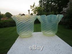 2 Antique Vaseline Glass Duplex Oil Lamp Shades Was Benson Suit Minor Chips