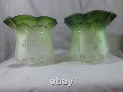 2 Antique Victorian Green Glass Duplex Oil Lamp Shades