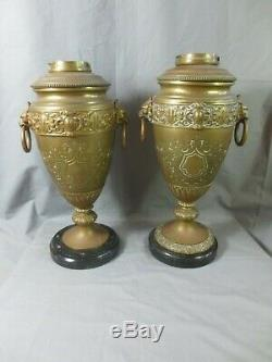 2 Old Duplex Oil Lamp Bases Williams And Bach For Restoration