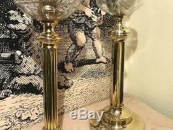2 RARE Antique Victorian Oil Kerosine Lamps