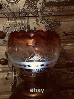 2 Red/clear Etched 19th Century Oil/Gas Glass Beautiful Lamp Shades