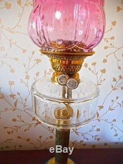 3 x ANTIQUE VICTORIAN/EDWARDIAN OIL LAMPS CRANBERRY GLASS COLLECTION ONLY PLEASE