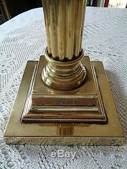 A Beautiful Antique Art Nouveau Victorian 27.1/4 Tall Cranberry Table Oil Lamp