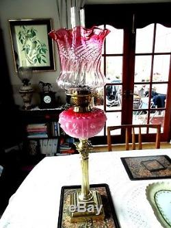 A Beautiful Corinthian Victorian Pink/cranberry Case Font Twin Duplex Oil Lamp