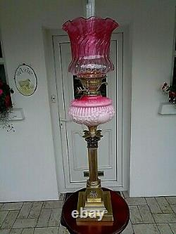 A Beautiful Large 29 Tall Victorian Period Cranberry/rose Pink Glass Oil Lamp