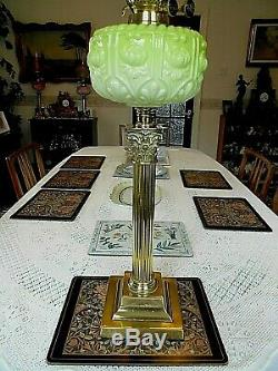 A Charming Antique Victorian 30 Tall Mint Green Banquet Table Oil Lamp