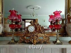 A Fine Quality Pair Of Victorian Style Cranberry Tear-drop Glass Peg Oil Lamps