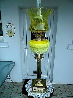 A Fine Quality Primrose Yellow Antique Victorian Banquet Or Table Oil Lamp