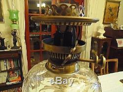 A Genuine Antique Hinks & Son 26.3/4 Tall Corinthian Column Oil Lamp