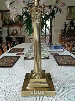 A Large Antique Cranberry Victorian Banquet Table Oil Lamp