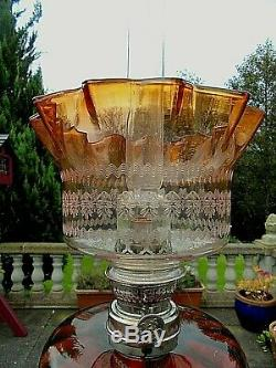 A Quality Victorian Orange/amber Engraved Glass Oil/gas Lamp Shade