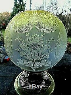 A Quality Victorian Raised Etched Primrose Yellow Twin Duplex Oil Lamp Shade