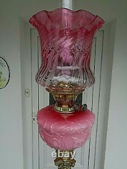 A Superb 28.1/4 Tall Victorian Period Cranberry/rose Pink Glass Oil Lamp