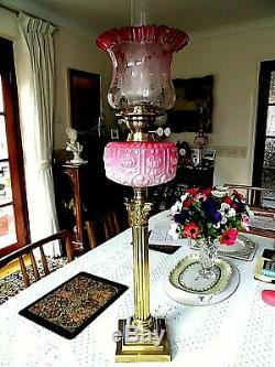 A Superb Quality Rose Pink/cranberry Victorian Twin Duplex Table Oil Lamp