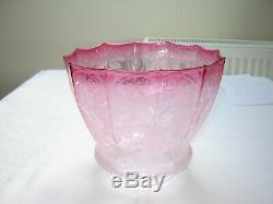 A Victorian Cranberry Etched Oil Lamp Shade Excellent Condition