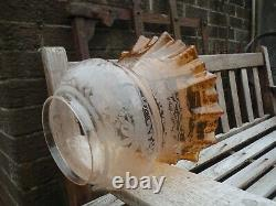 A Victorian, amber glass Oil Lamp Shade. Duplex 4 fitter
