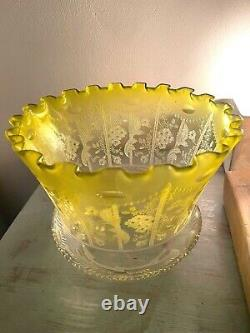 A victorian lemon yellow acid etched oil lamp shade