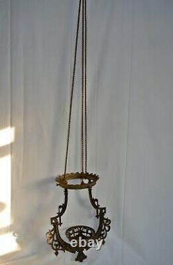 ANTIQUE 1800s BRADLEY & HUBBARD IRON HORSE HANGING OIL LAMP HOLDER