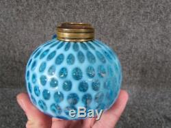 ANTIQUE AMERICAN 19c. VICTORIAN THOUSAND EYE BLUE OPALESCENT FINGER OIL LAMP