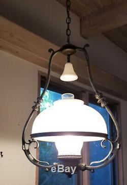 ANTIQUE CONVERTED ELECTRIC 19 c. VICTORIAN HANGING KEROSENE OIL HANGING LAMP