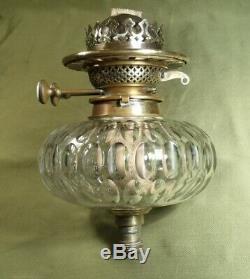ANTIQUE HINKS OIL LAMP FONT RESERVOIR THUMB CUT GLASS & BURNER quality