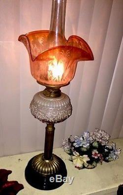 Antique Victorian Kerosene Oil Banquet Lamp English 2