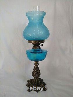 ANTIQUE Victorian BRASS Large ORNATE BLUE Glass Double Burner OIL LAMP VGC