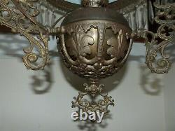 ANTIQUE Victorian Hanging Parlor Oil Lamp Prism Women Counterbalance Electrified