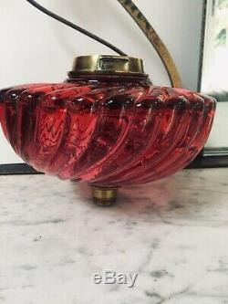 ANTIQUE cranberry wrythen swirls baccarat oil lamp fount