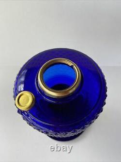 Aladdin Style Cobalt Blue Diamond Quilt Pattern Oil Lamp Base (nos)