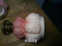 Antique 11 tall Victorian Pink Ombre Cased Glass Miniature Oil Lamp and Shade
