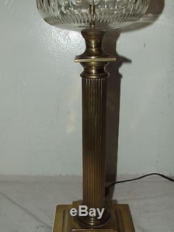 Antique 1800's HINKS Brass Victorian Corinthian Column Banquet Oil Lamp 34 RARE